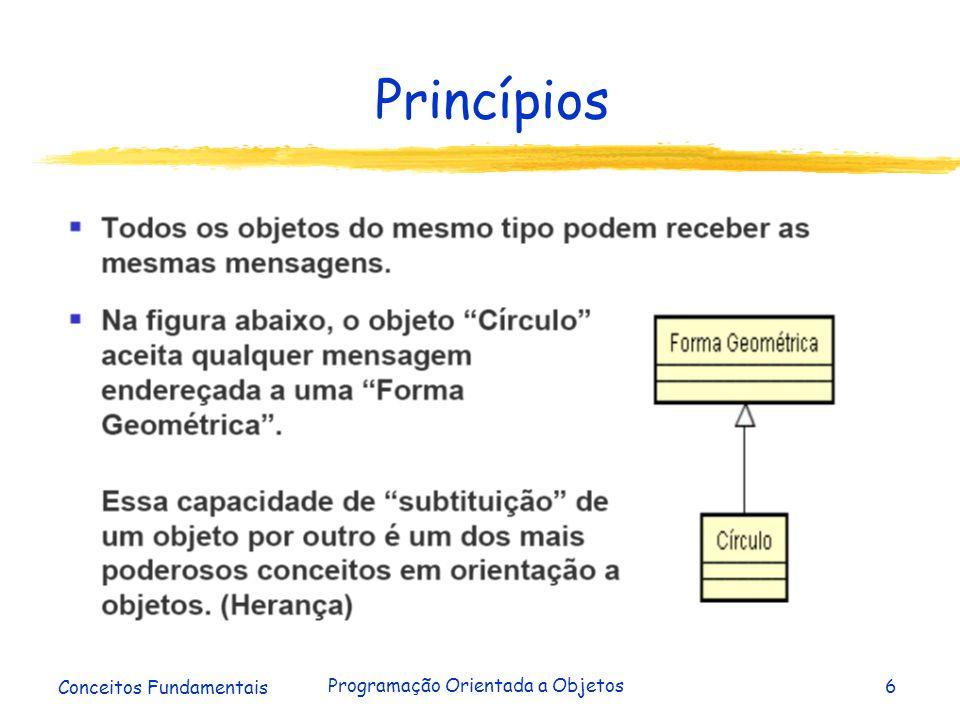 Conceitos Fundamentais Programação Orientada a Objetos37 Conclusão Encapsulamento = Interface + Implementação Interface = Assinaturas dos Métodos Públicos Implementação = Atributos + Métodos