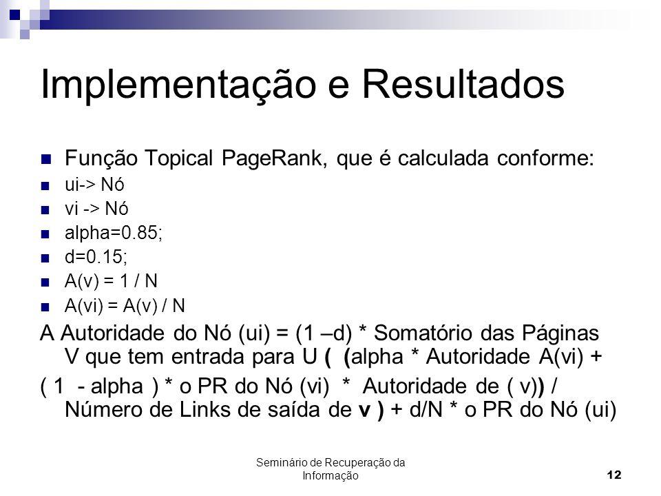 Seminário de Recuperação da Informação12 Implementação e Resultados Função Topical PageRank, que é calculada conforme: ui-> Nó vi -> Nó alpha=0.85; d=