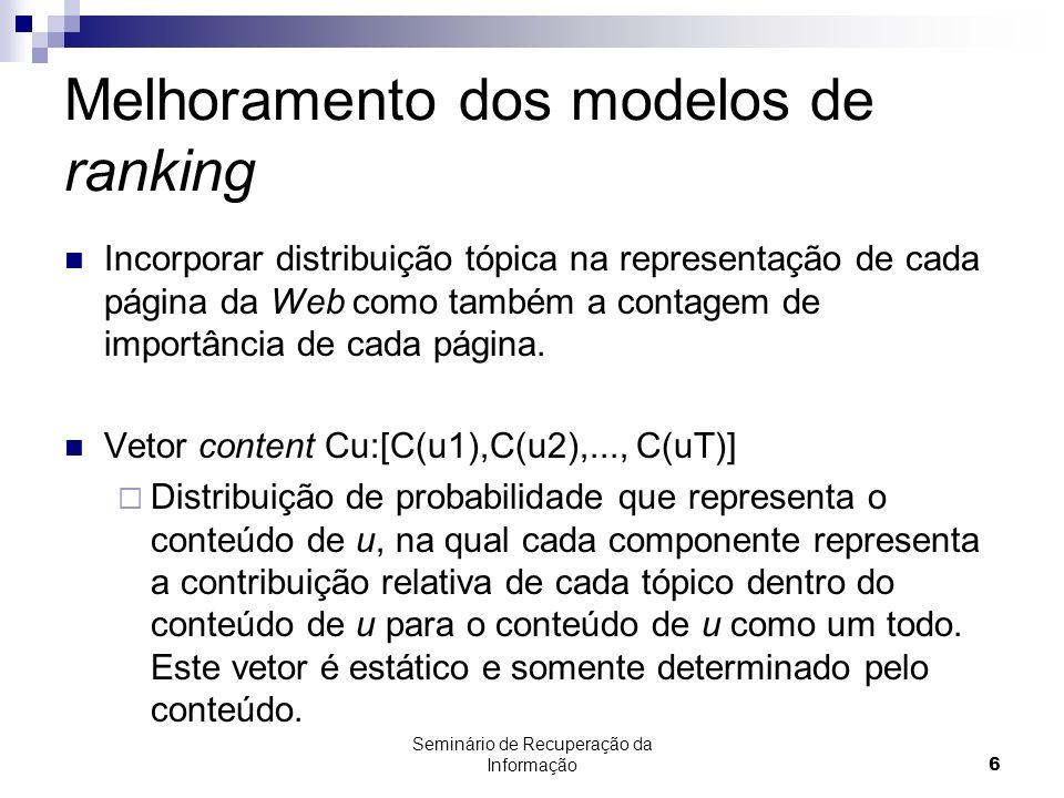 Seminário de Recuperação da Informação6 Melhoramento dos modelos de ranking Incorporar distribuição tópica na representação de cada página da Web como