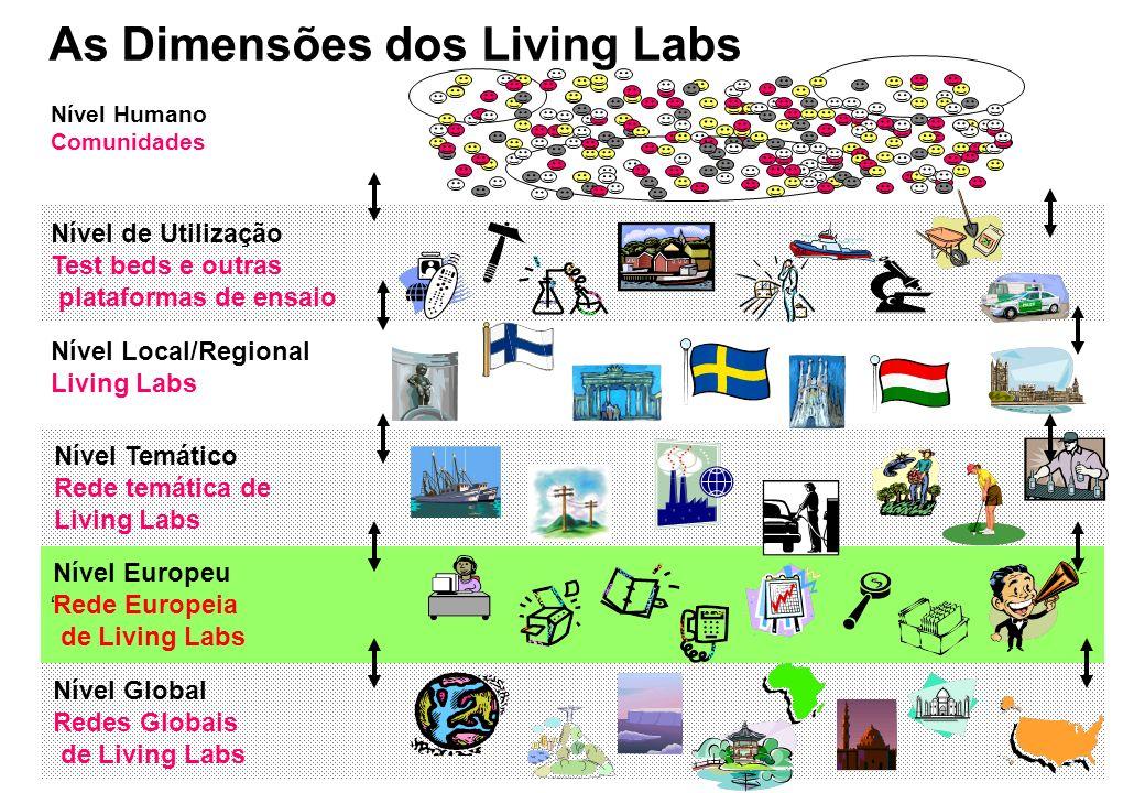 Nível Humano Comunidades Nível Local/Regional Living Labs Nível Temático Rede temática de Living Labs Nível Global Redes Globais de Living Labs Nível