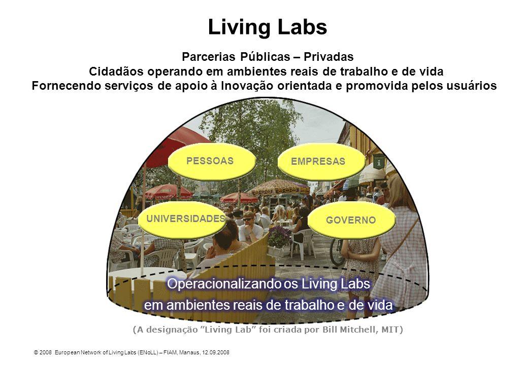 Living Labs Parcerias Públicas – Privadas Cidadãos operando em ambientes reais de trabalho e de vida Fornecendo serviços de apoio à Inovação orientada