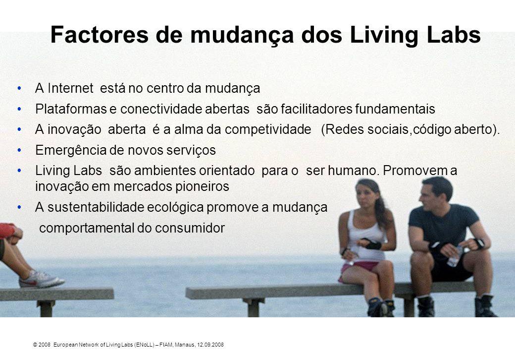 Factores de mudança dos Living Labs A Internet está no centro da mudança Plataformas e conectividade abertas são facilitadores fundamentais A inovação
