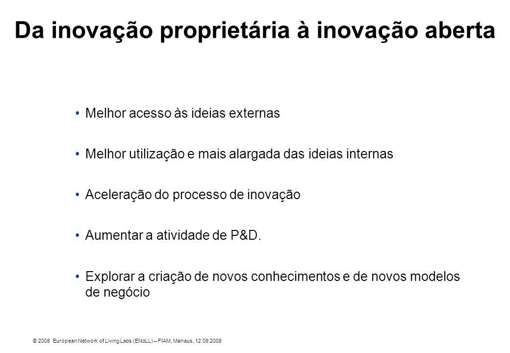 Melhor acesso às ideias externas Melhor utilização e mais alargada das ideias internas Aceleração do processo de inovação Aumentar a atividade de P&D.
