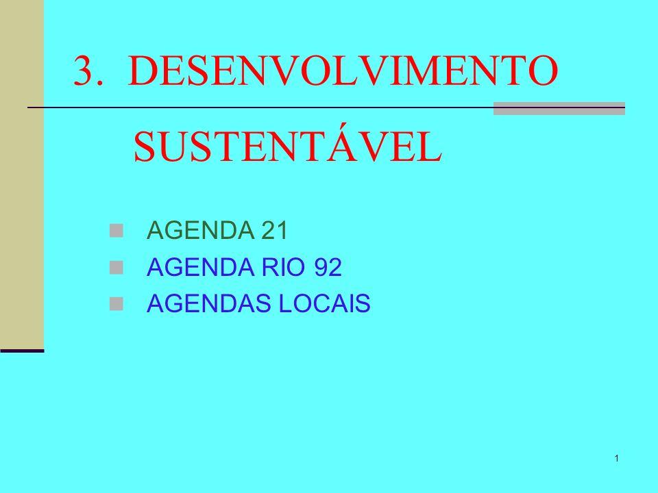 1 3. DESENVOLVIMENTO SUSTENTÁVEL AGENDA 21 AGENDA RIO 92 AGENDAS LOCAIS
