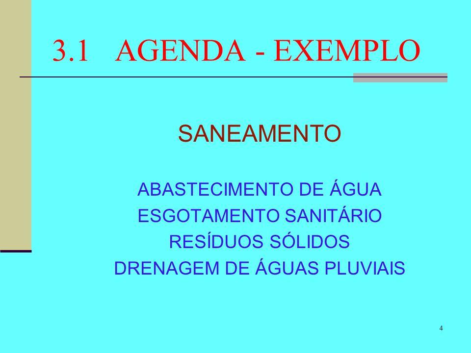 4 3.1 AGENDA - EXEMPLO SANEAMENTO ABASTECIMENTO DE ÁGUA ESGOTAMENTO SANITÁRIO RESÍDUOS SÓLIDOS DRENAGEM DE ÁGUAS PLUVIAIS
