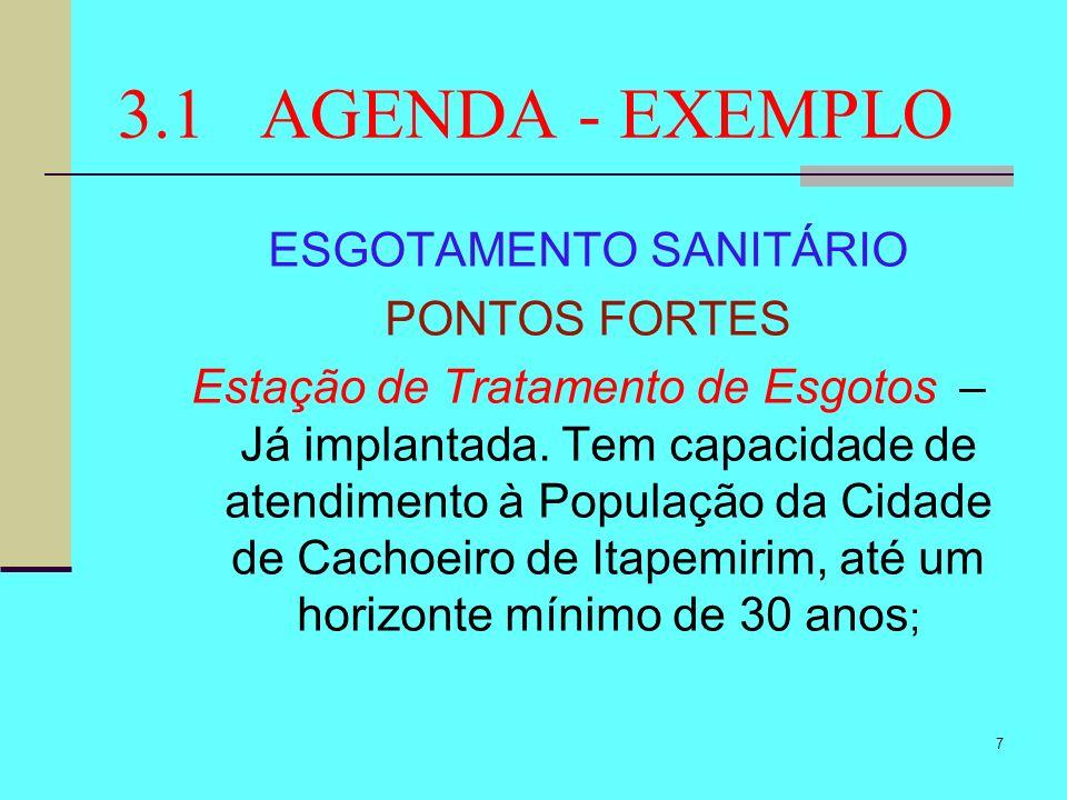 18 3.1 AGENDA - EXEMPLO DRENAGEM DE ÁGUAS PLUVIAIS PONTOS FRACOS Falta de Manutenção – A falta de uma estrutura operacional para a manutenção das redes coletoras de águas pluviais é um ponto muito fraco no saneamento local.