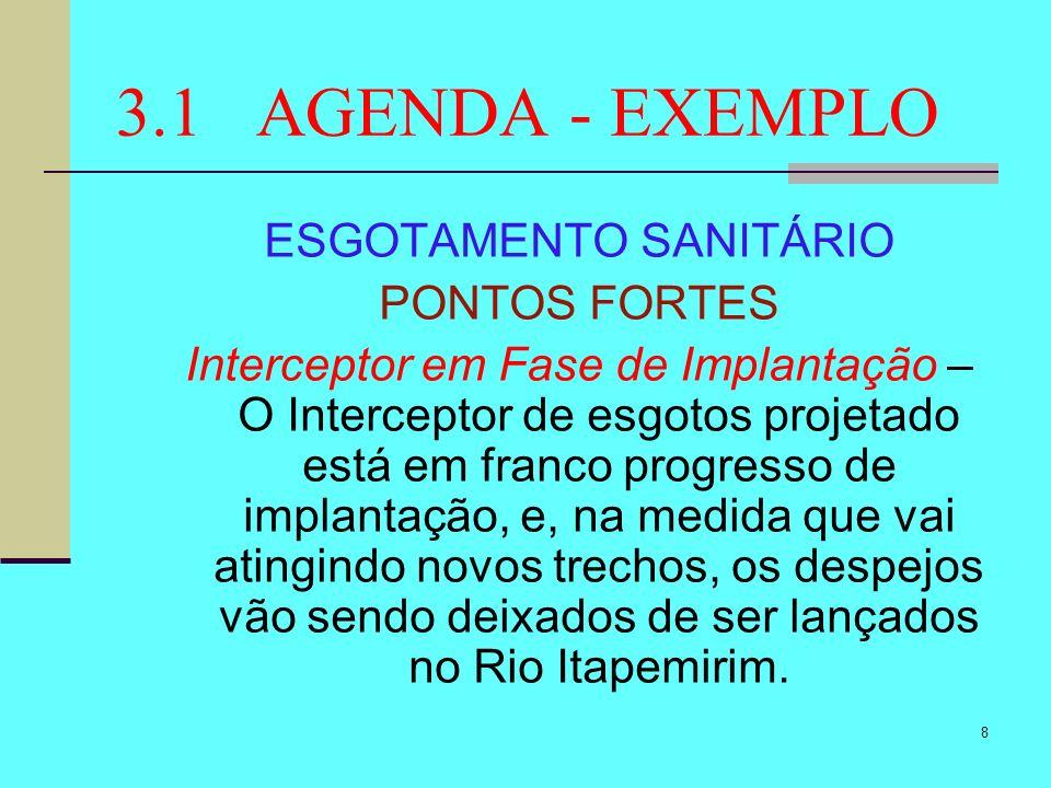 8 3.1 AGENDA - EXEMPLO ESGOTAMENTO SANITÁRIO PONTOS FORTES Interceptor em Fase de Implantação – O Interceptor de esgotos projetado está em franco prog