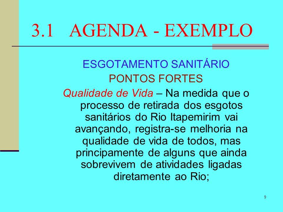 9 3.1 AGENDA - EXEMPLO ESGOTAMENTO SANITÁRIO PONTOS FORTES Qualidade de Vida – Na medida que o processo de retirada dos esgotos sanitários do Rio Itap