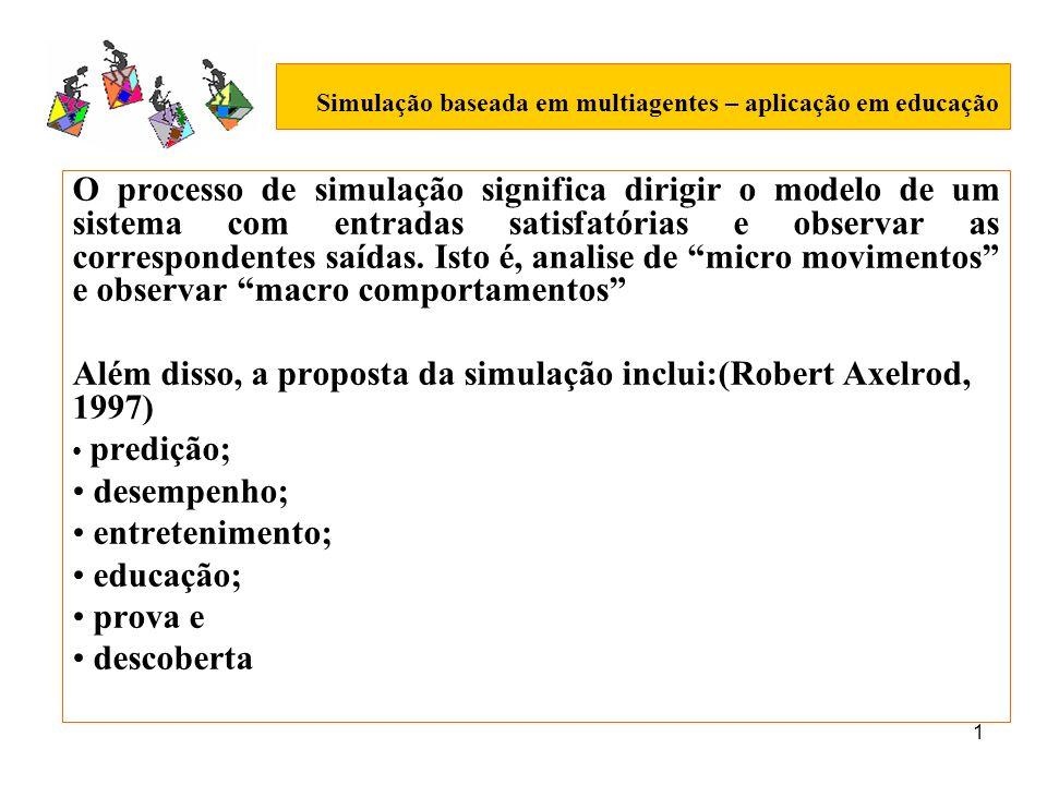 1 Simulação baseada em multiagentes – aplicação em educação O processo de simulação significa dirigir o modelo de um sistema com entradas satisfatória
