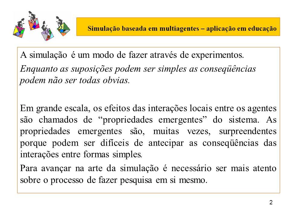 2 Simulação baseada em multiagentes – aplicação em educação A simulação é um modo de fazer através de experimentos. Enquanto as suposições podem ser s