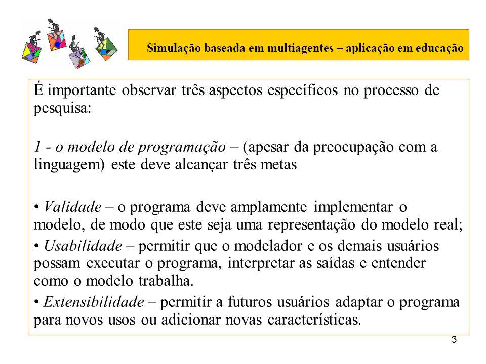3 Simulação baseada em multiagentes – aplicação em educação É importante observar três aspectos específicos no processo de pesquisa: 1 - o modelo de p