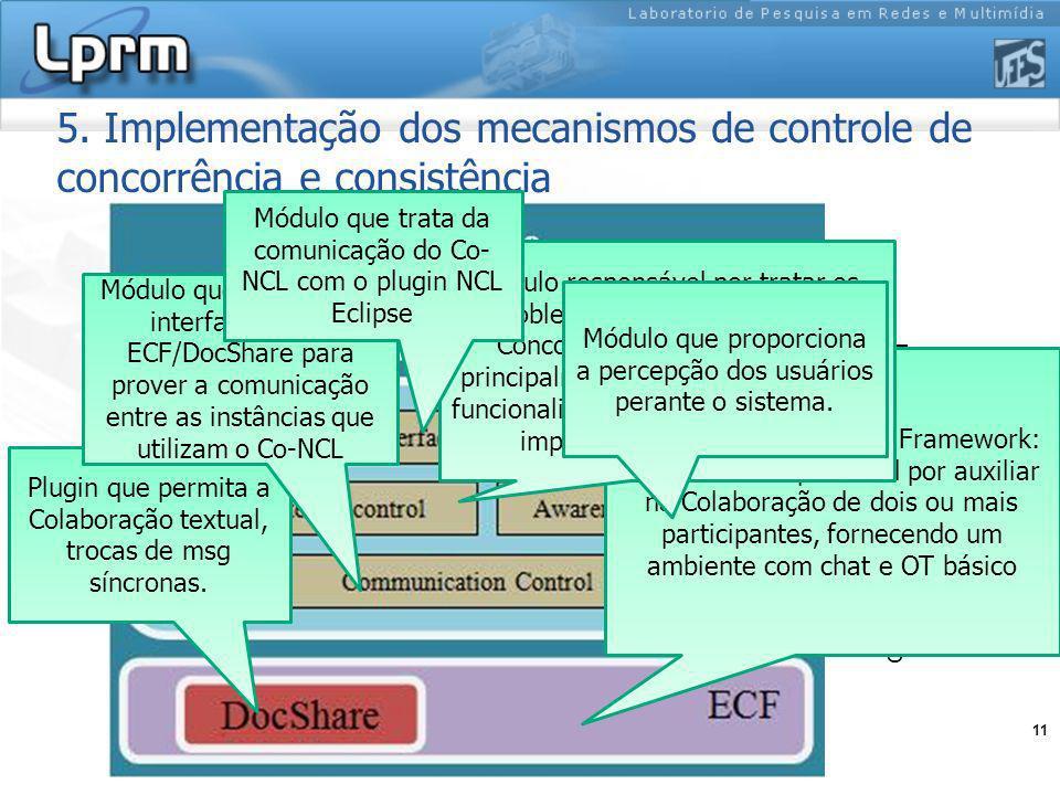 11 Plugin em desenvolvimento 5. Implementação dos mecanismos de controle de concorrência e consistência Eclipse Communication Framework: Framework res