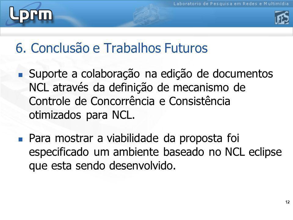12 6. Conclusão e Trabalhos Futuros Suporte a colaboração na edição de documentos NCL através da definição de mecanismo de Controle de Concorrência e