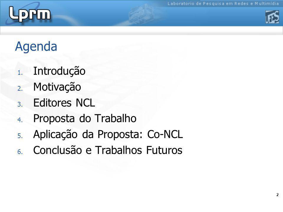 2 Agenda 1. Introdução 2. Motivação 3. Editores NCL 4. Proposta do Trabalho 5. Aplicação da Proposta: Co-NCL 6. Conclusão e Trabalhos Futuros