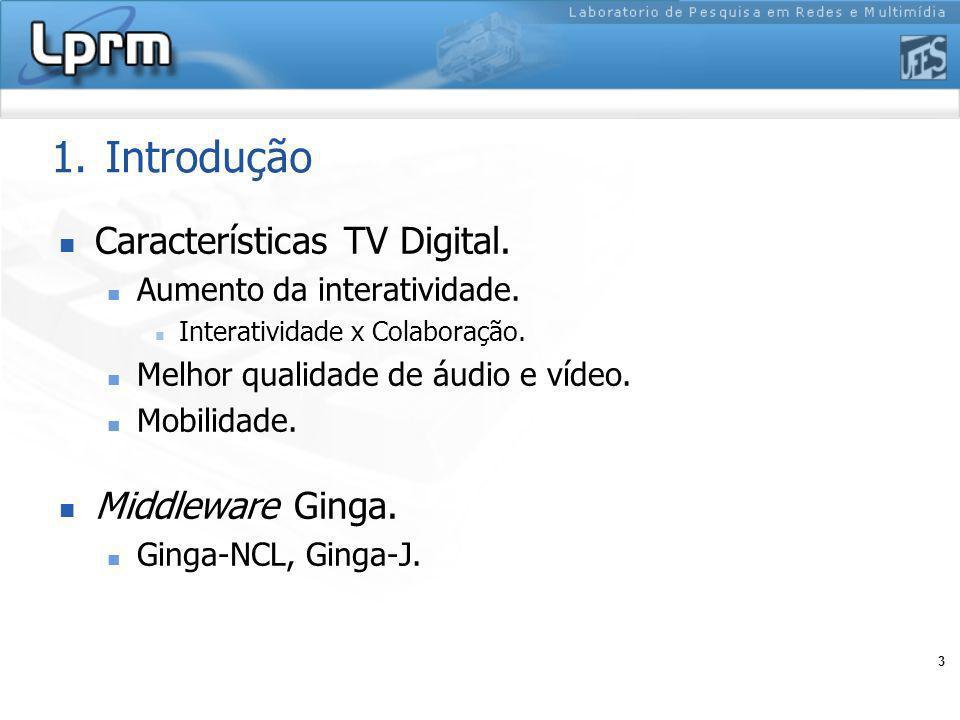 3 1.Introdução Características TV Digital. Aumento da interatividade. Interatividade x Colaboração. Melhor qualidade de áudio e vídeo. Mobilidade. Mid