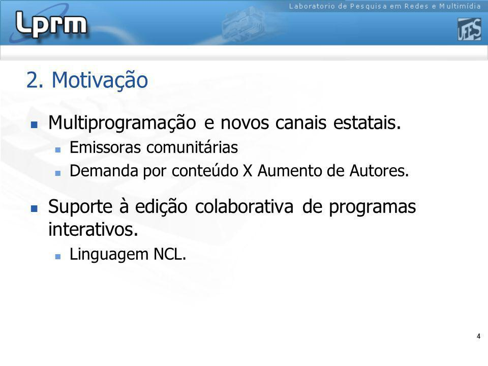 4 2. Motivação Multiprogramação e novos canais estatais. Emissoras comunitárias Demanda por conteúdo X Aumento de Autores. Suporte à edição colaborati