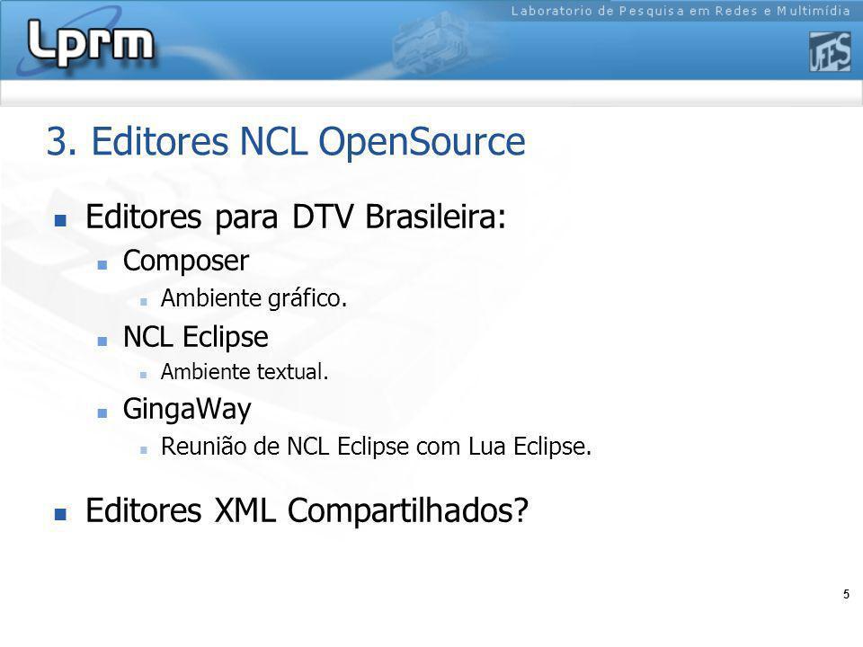 5 3. Editores NCL OpenSource Editores para DTV Brasileira: Composer Ambiente gráfico. NCL Eclipse Ambiente textual. GingaWay Reunião de NCL Eclipse co