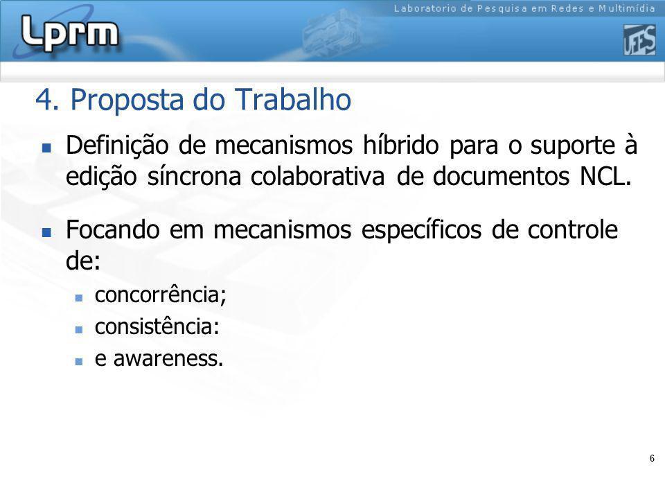 6 4. Proposta do Trabalho Definição de mecanismos híbrido para o suporte à edição síncrona colaborativa de documentos NCL. Focando em mecanismos espec
