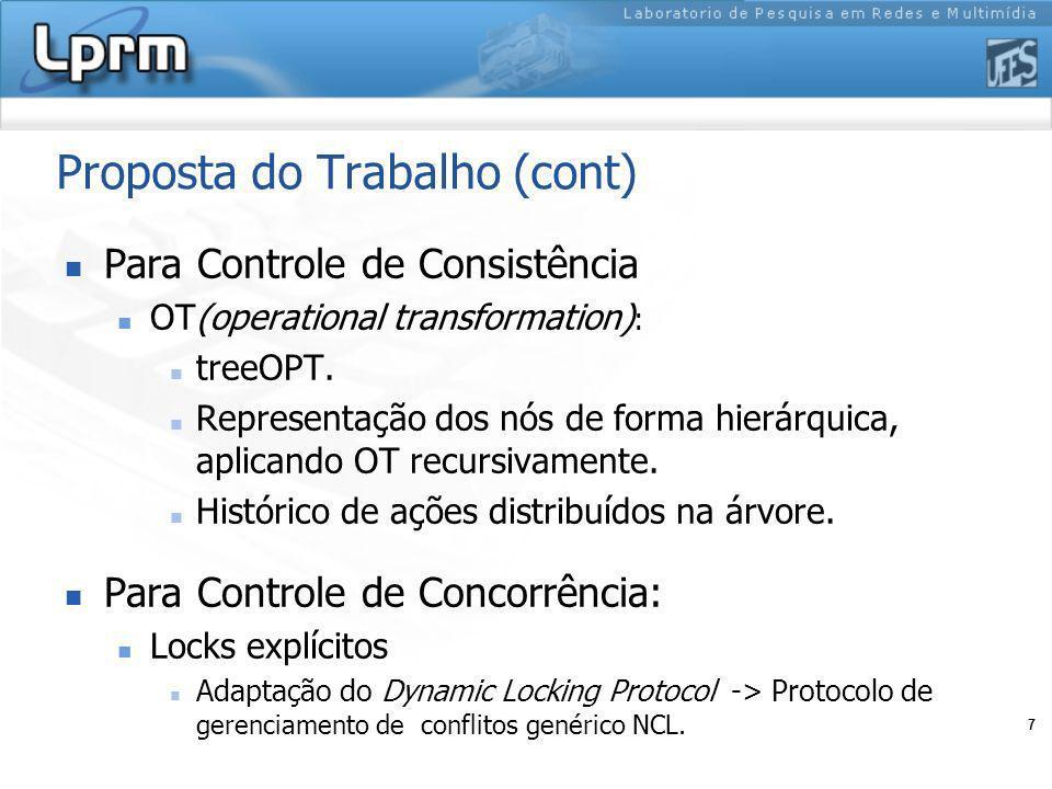 7 Proposta do Trabalho (cont) Para Controle de Consistência OT(operational transformation) : treeOPT. Representação dos nós de forma hierárquica, apli