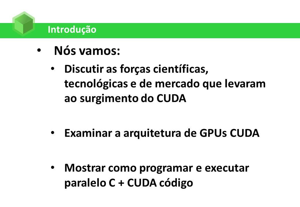 Introdução Nós vamos: Discutir as forças científicas, tecnológicas e de mercado que levaram ao surgimento do CUDA Examinar a arquitetura de GPUs CUDA