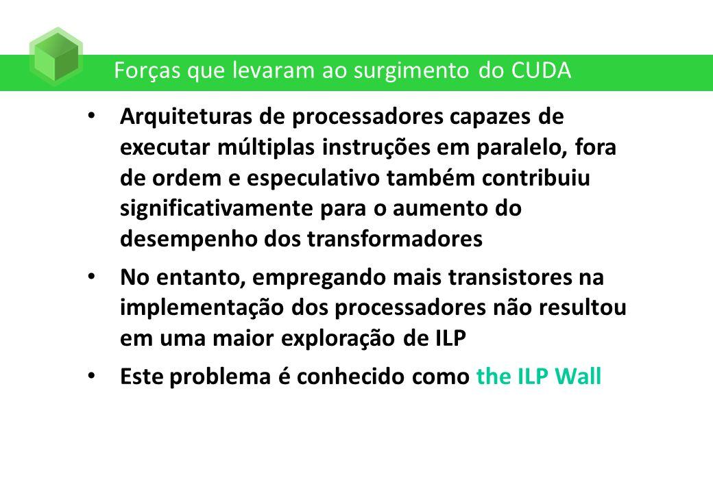Forças que levaram ao surgimento do CUDA Arquiteturas de processadores capazes de executar múltiplas instruções em paralelo, fora de ordem e especulat