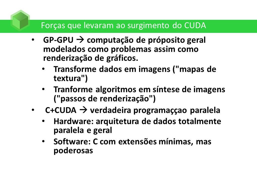 Forças que levaram ao surgimento do CUDA GP-GPU computação de próposito geral modelados como problemas assim como renderização de gráficos. Transforme