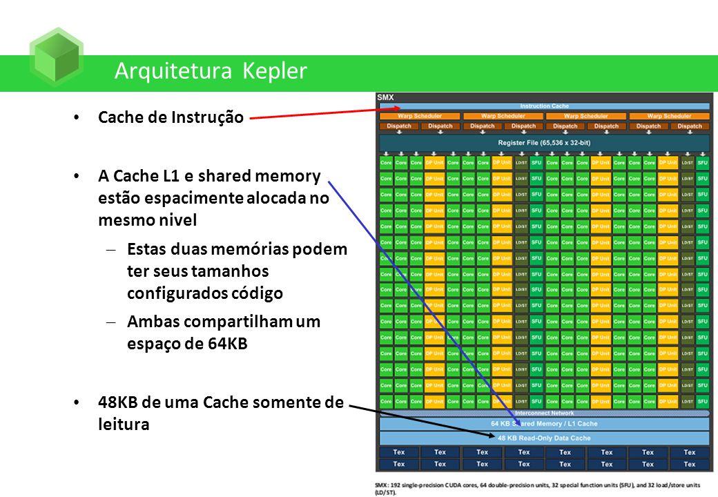 Arquitetura Kepler Cache de Instrução A Cache L1 e shared memory estão espacimente alocada no mesmo nivel – Estas duas memórias podem ter seus tamanho