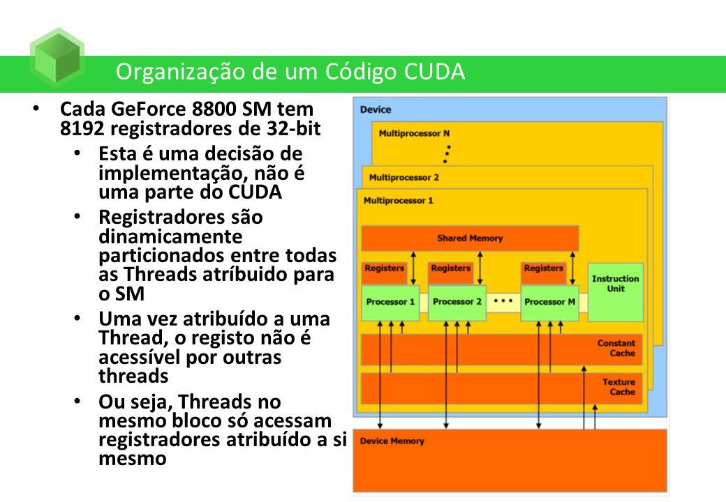 Organização de um Código CUDA Cada GeForce 8800 SM tem 8192 registradores de 32-bit Esta é uma decisão de implementação, não é uma parte do CUDA Regis