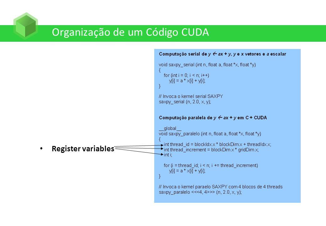 Organização de um Código CUDA Register variables