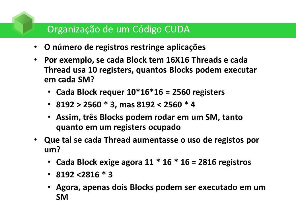 Organização de um Código CUDA O número de registros restringe aplicações Por exemplo, se cada Block tem 16X16 Threads e cada Thread usa 10 registers,