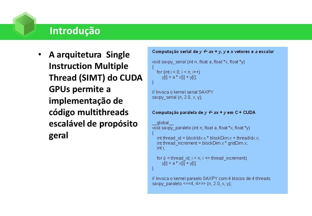 Organização de um Código CUDA Qualificadores do tipo de função são adicionados antes das funções A função __global__ são sempre chamadas com uma configuração A função __device__ são chamadas pelas funções pelo __global__