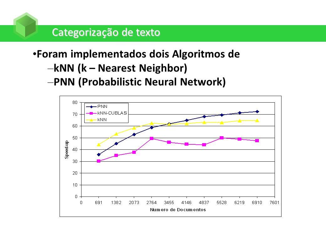 Categorização de texto Foram implementados dois Algoritmos de – kNN (k – Nearest Neighbor) – PNN (Probabilistic Neural Network)