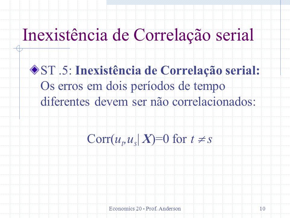 Economics 20 - Prof. Anderson10 Inexistência de Correlação serial ST.5: Inexistência de Correlação serial: Os erros em dois períodos de tempo diferent