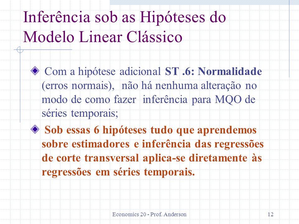 Economics 20 - Prof. Anderson12 Inferência sob as Hipóteses do Modelo Linear Clássico Com a hipótese adicional ST.6: Normalidade (erros normais), não