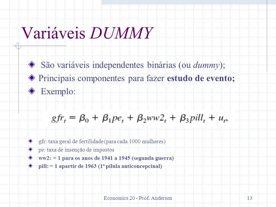 Economics 20 - Prof. Anderson13 Variáveis DUMMY São variáveis independentes binárias (ou dummy); Principais componentes para fazer estudo de evento; E