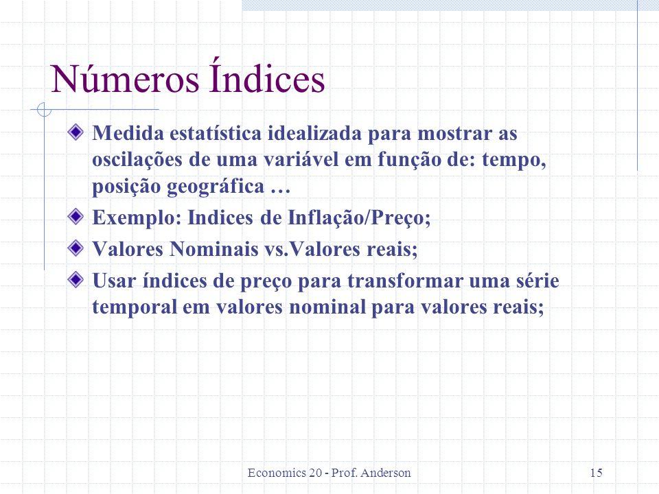 Economics 20 - Prof. Anderson15 Números Índices Medida estatística idealizada para mostrar as oscilações de uma variável em função de: tempo, posição