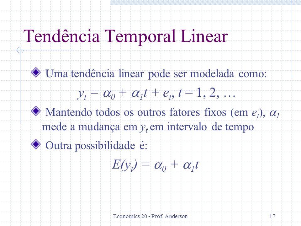 Economics 20 - Prof. Anderson17 Tendência Temporal Linear Uma tendência linear pode ser modelada como: y t = 0 + 1 t + e t, t = 1, 2, … Mantendo todos