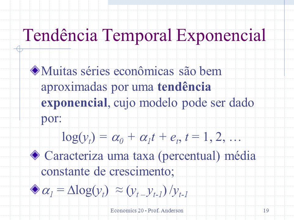 Economics 20 - Prof. Anderson19 Tendência Temporal Exponencial Muitas séries econômicas são bem aproximadas por uma tendência exponencial, cujo modelo