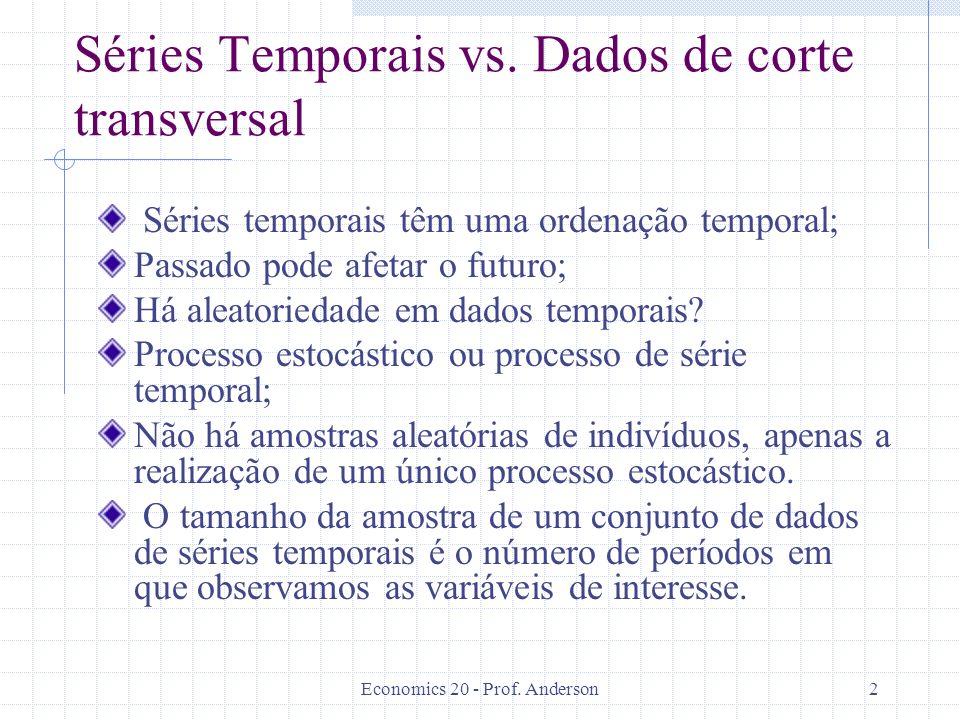 Economics 20 - Prof. Anderson2 Séries Temporais vs. Dados de corte transversal Séries temporais têm uma ordenação temporal; Passado pode afetar o futu
