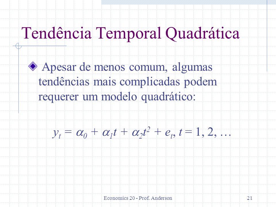 Economics 20 - Prof. Anderson21 Tendência Temporal Quadrática Apesar de menos comum, algumas tendências mais complicadas podem requerer um modelo quad