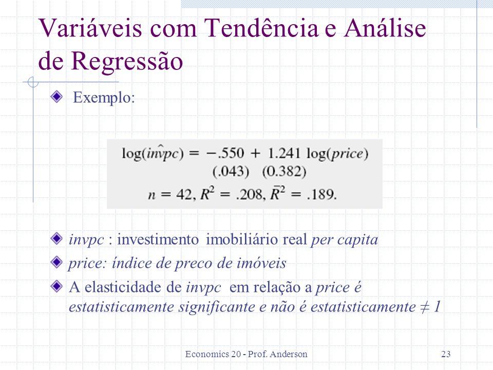 Economics 20 - Prof. Anderson23 Variáveis com Tendência e Análise de Regressão Exemplo: invpc : investimento imobiliário real per capita price: índice