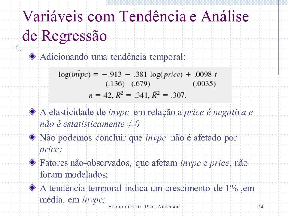 Economics 20 - Prof. Anderson24 Variáveis com Tendência e Análise de Regressão Adicionando uma tendência temporal: A elasticidade de invpc em relação