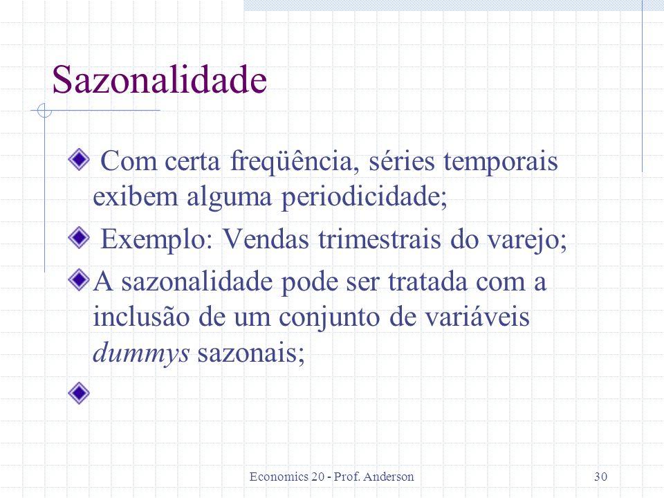 Economics 20 - Prof. Anderson30 Sazonalidade Com certa freqüência, séries temporais exibem alguma periodicidade; Exemplo: Vendas trimestrais do varejo