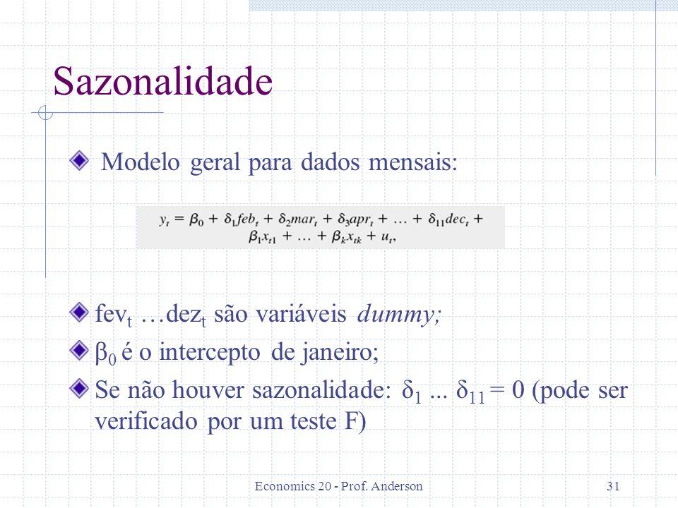 Economics 20 - Prof. Anderson31 Sazonalidade Modelo geral para dados mensais: fev t …dez t são variáveis dummy; β 0 é o intercepto de janeiro; Se não