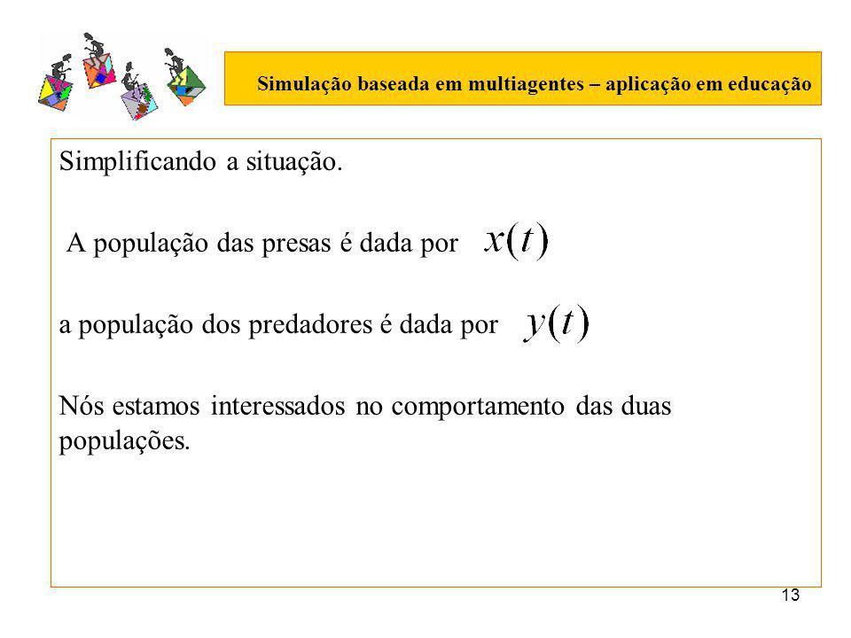 13 Simulação baseada em multiagentes – aplicação em educação Simplificando a situação.