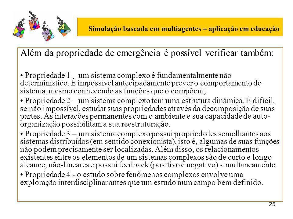 25 Simulação baseada em multiagentes – aplicação em educação Além da propriedade de emergência é possível verificar também: Propriedade 1 – um sistema complexo é fundamentalmente não determinístico.