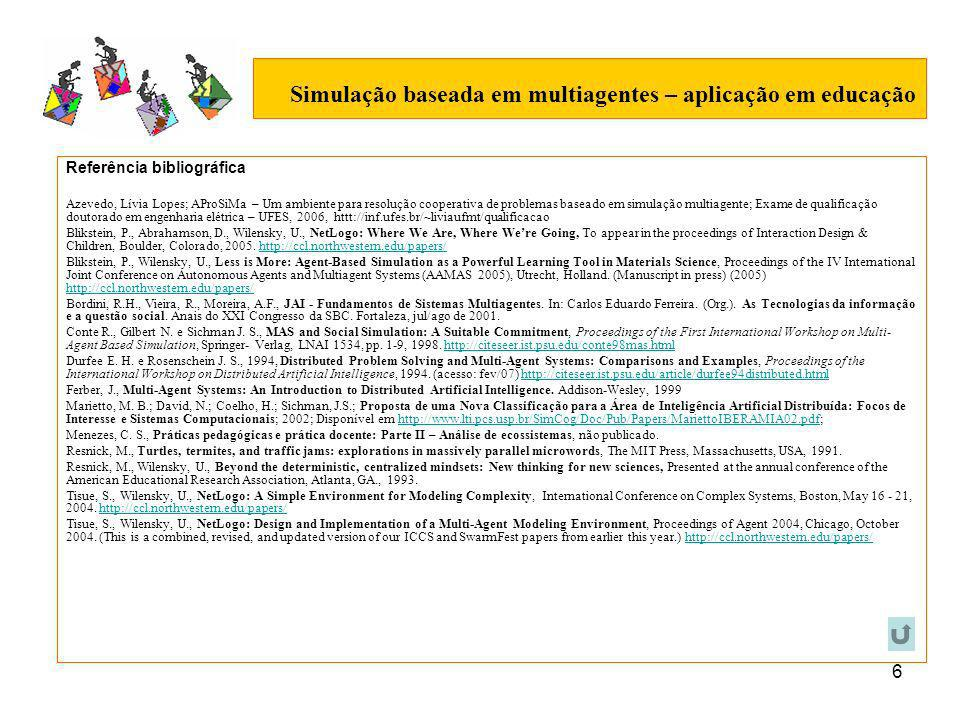 6 Simulação baseada em multiagentes – aplicação em educação Referência bibliográfica Azevedo, Lívia Lopes; AProSiMa – Um ambiente para resolução cooperativa de problemas baseado em simulação multiagente; Exame de qualificação doutorado em engenharia elétrica – UFES, 2006, httt://inf.ufes.br/~liviaufmt/qualificacao Blikstein, P., Abrahamson, D., Wilensky, U., NetLogo: Where We Are, Where Were Going, To appear in the proceedings of Interaction Design & Children, Boulder, Colorado, 2005.