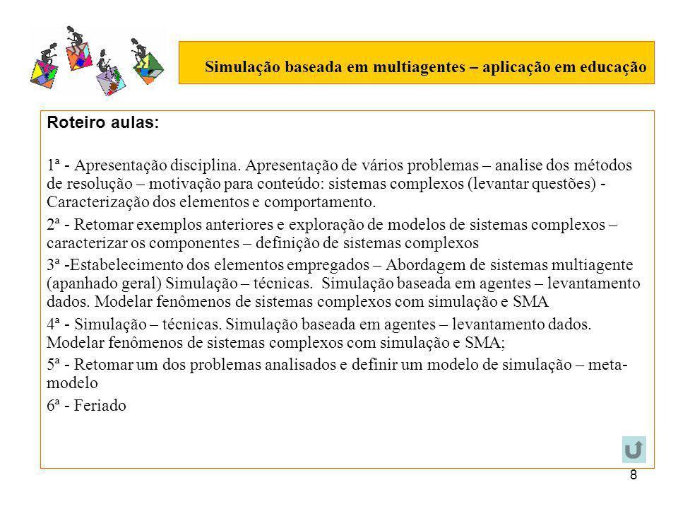 8 Simulação baseada em multiagentes – aplicação em educação Roteiro aulas: 1ª - Apresentação disciplina.