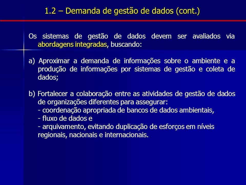 1.2 – Demanda de gestão de dados (cont.) Os sistemas de gestão de dados devem ser avaliados via abordagens integradas, buscando: a) Aproximar a demand