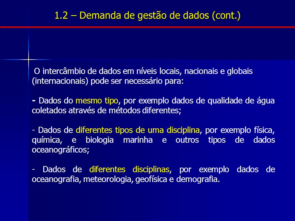 1.2 – Demanda de gestão de dados (cont.) O intercâmbio de dados em níveis locais, nacionais e globais (internacionais) pode ser necessário para: - Dad